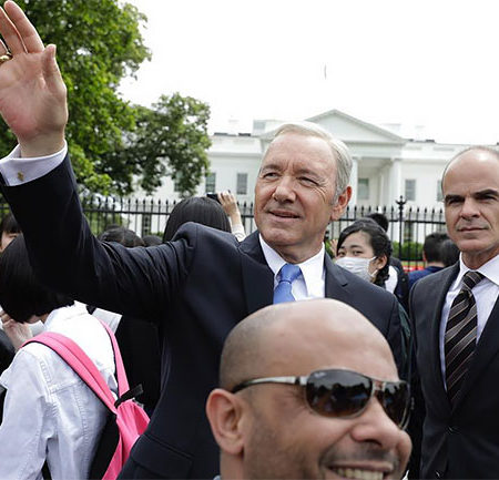 Frank Underwood waves to his supporters