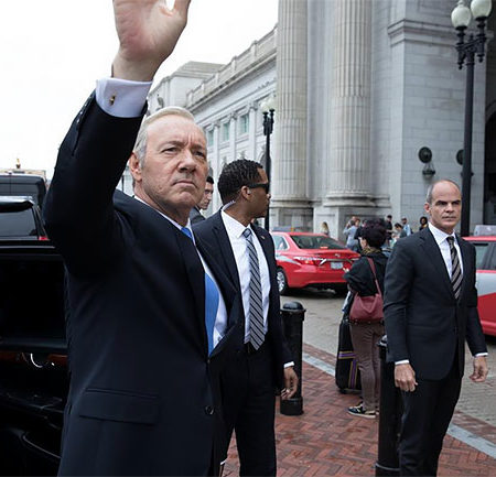 Frank Underwood gets out of his car.